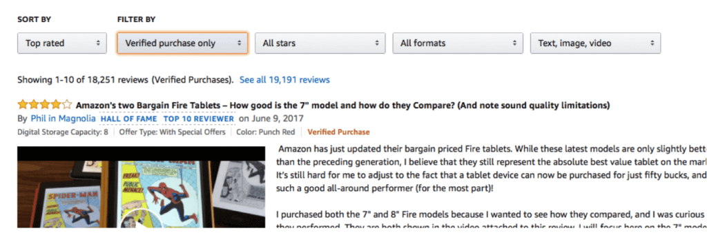 verified Amazon review