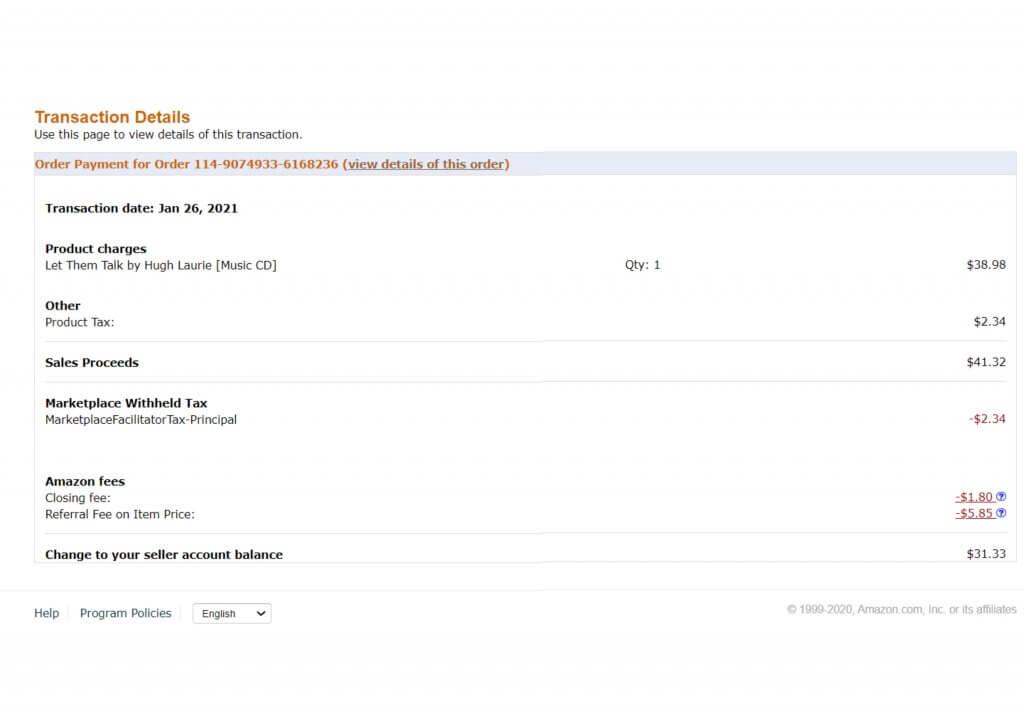 Image: Example of Amazon Fees - Screenshot