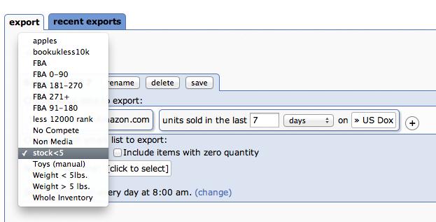 Choosing smart lists to export