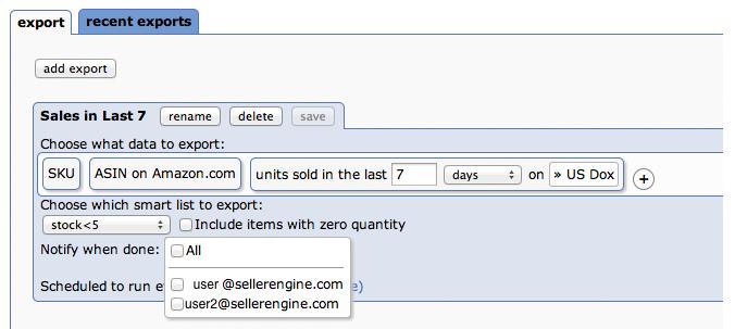 Choosing users to export