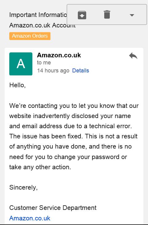 Amazon Data Leak Notice
