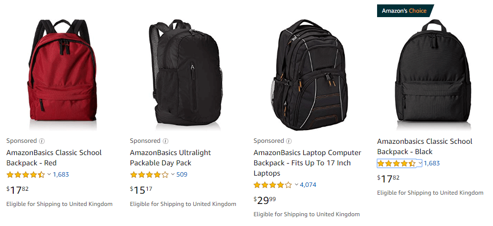 AmazonBasics Backpacks